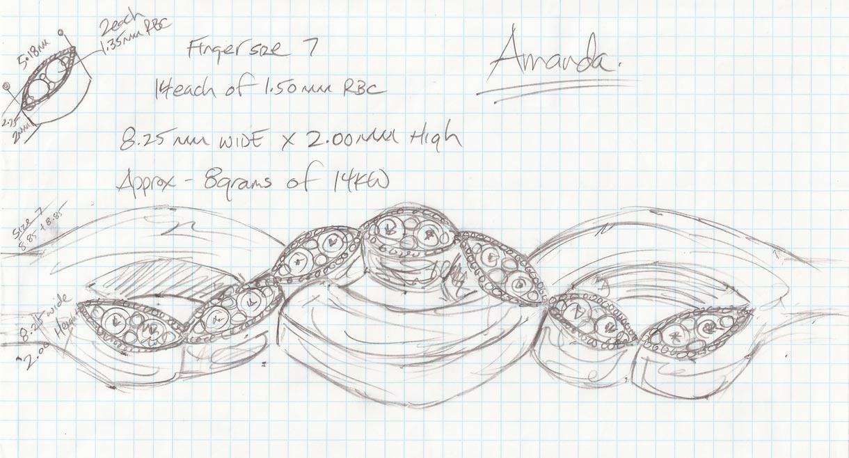 Criss Cross Ring Sketch - Bentley Diamond