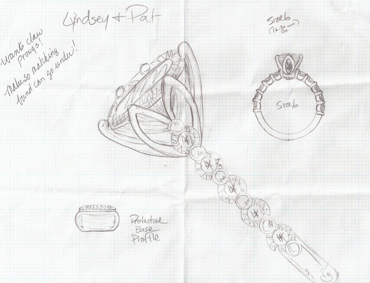 Oval Tulip Ring Sketch - Bentley Diamond