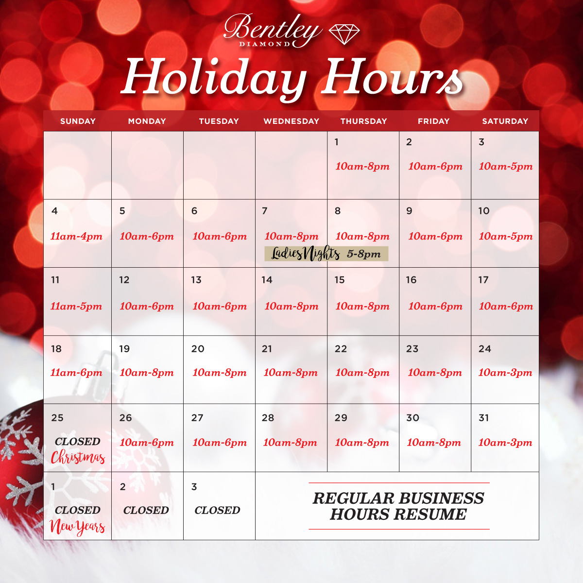 Bentley Diamond - Holiday Hours 2016