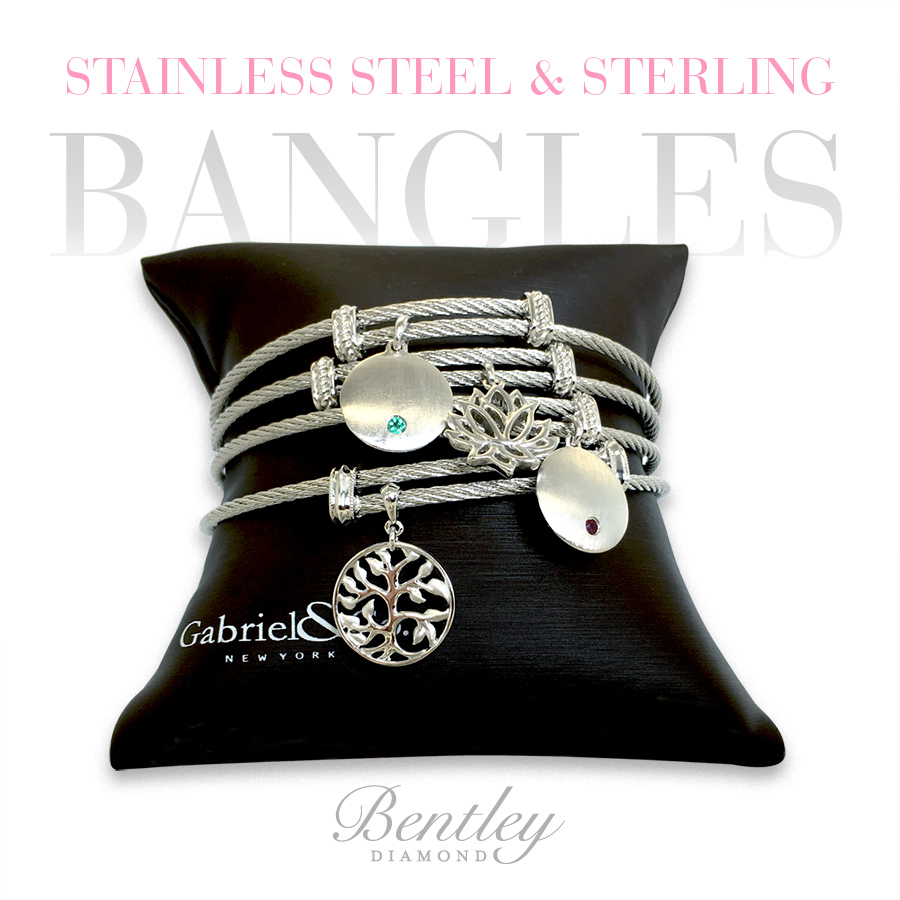 Stainless Steel & Sterling Bangles - Bentley Diamond