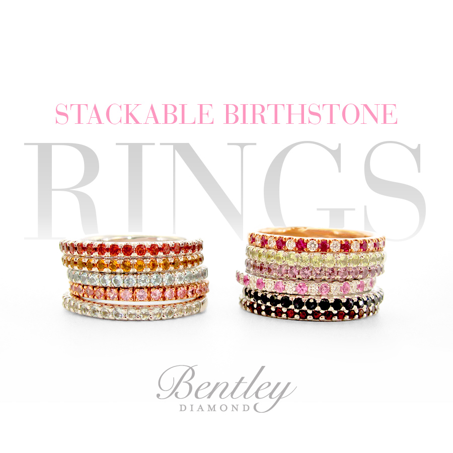 Stackable Birthstone Rings - Bentley Diamond