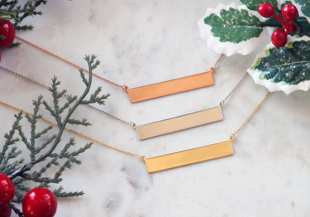 Bentley Diamond - Christmas Gold Bar Necklaces