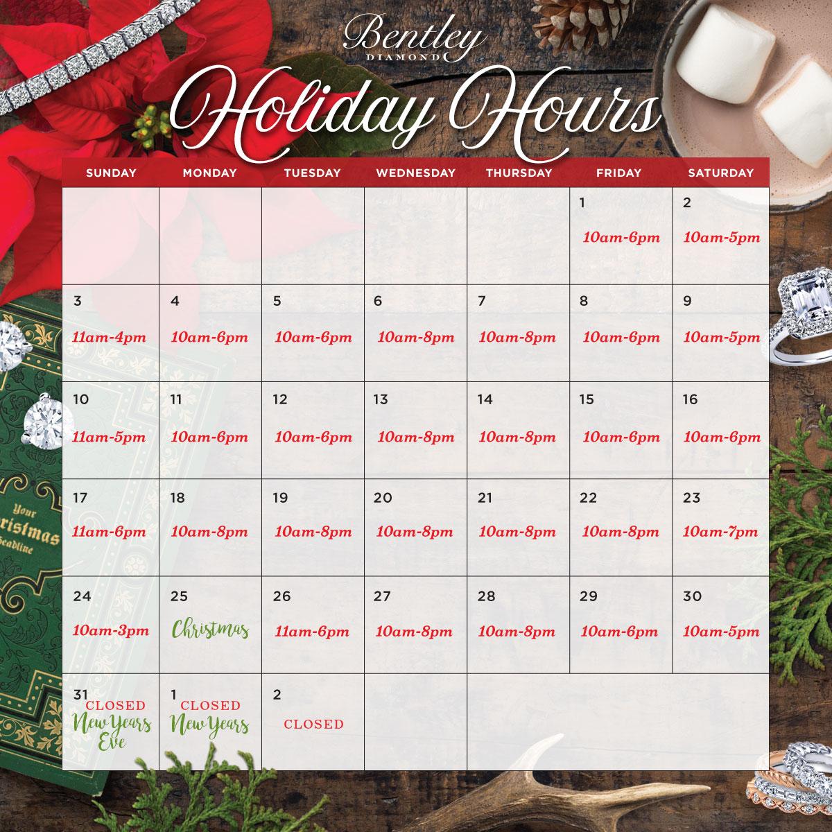 Bentley Diamond - Holiday Hours 2017