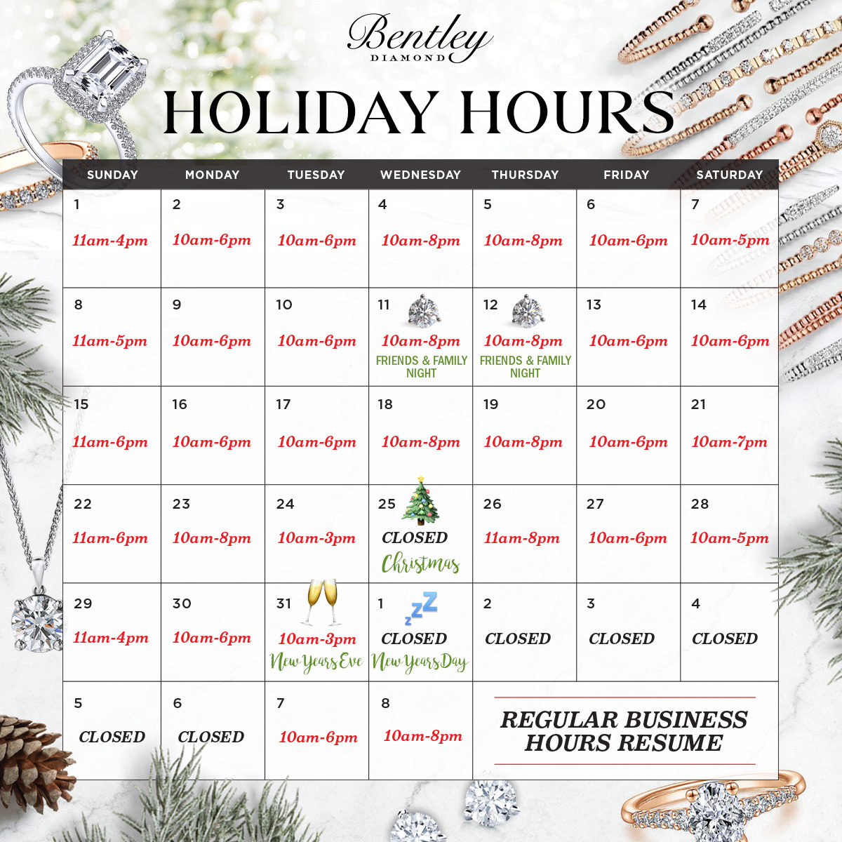 Bentley Diamond - Holiday Hours 2017