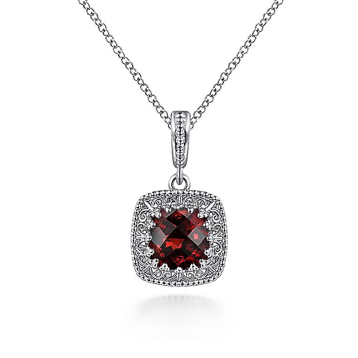 Gabriel-925-Sterling-Silver-Cushion-Cut-Garnet-Pendant-Necklace-with-Filigree-Frame~NK6081SVJGN-1