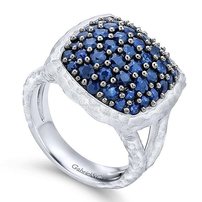 Gabriel-925-Sterling-Silver-Hammered-Sapphire-Pav-Ring~LR50593SVJSB-3