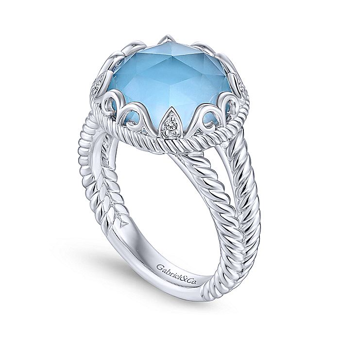 Gabriel-925-Sterling-Silver-Round-Rock-Crystal-White-MOP-Turquoise-Ring-with-White-Sapphire~LR51411-2