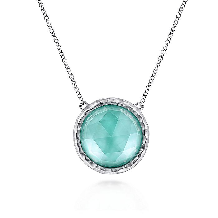 Gabriel-925-Sterling-Silver-Round-Rock-Crystal-White-MOP-and-Green-Onyx-Doublet-Pendant-Necklace-~NK