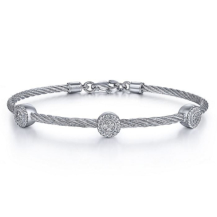 Gabriel-925-Sterling-Silver-Stainless-Steel-Twisted-Cable-Bangle-with-3-Round-Cluster-Diamond-Statio